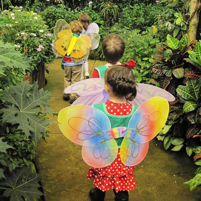 Kids wearing butterfly wings in garden