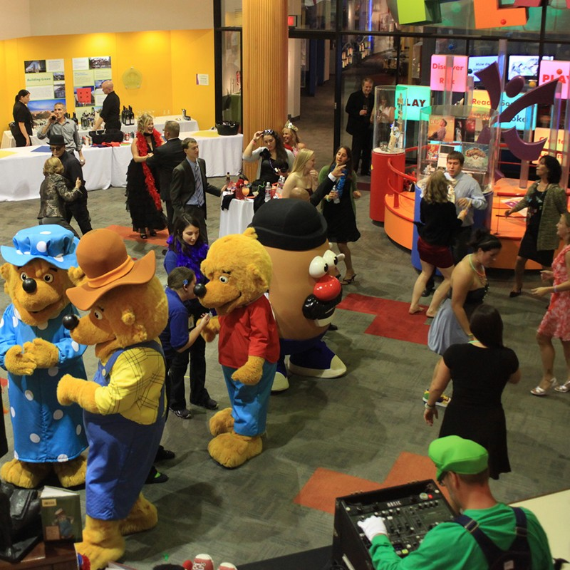 Corporate party dancing with Berenstain bears