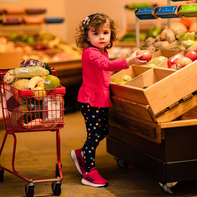 Girl shopping in Wegmans Super kids market