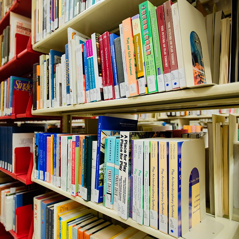 Library books in the stacks