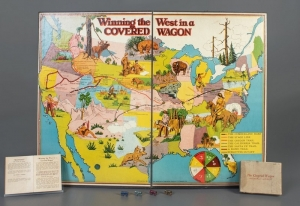 Winning the West in a Covered Wagon board game, Scholastic Publishing Company, 1927, The Strong, Rochester, New York.