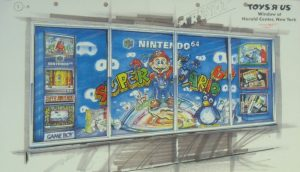 Concept Art for ToysRUs Window Display at Herald Center in NYC, 1996, Courtesy of The Strong, Rochester, NY