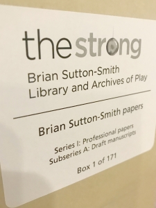 Box 1, The Brian Sutton-Smith papers, The Strong, Rochester, New York.