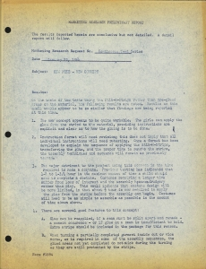 Marketing Research Preliminary Report from the Women in Toys (WIT) collection at The Strong, Rochester, New York.